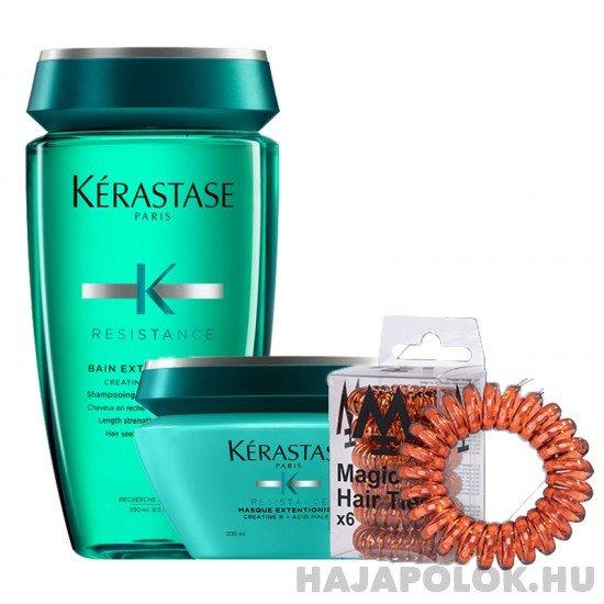 Kérastase Résistance Extentioniste sampon+hajmaszk és Magic Hair Ties barna hajgumi csomag