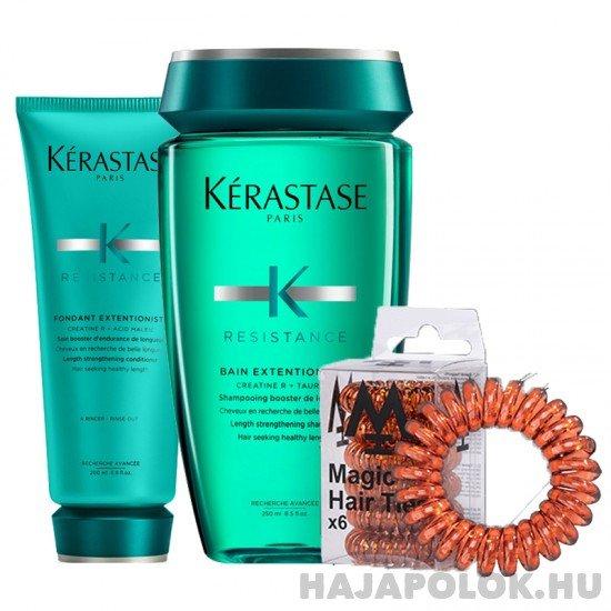 Kérastase Résistance Extentioniste sampon+kondícionáló és Magic Hair Ties barna hajgumi csomag
