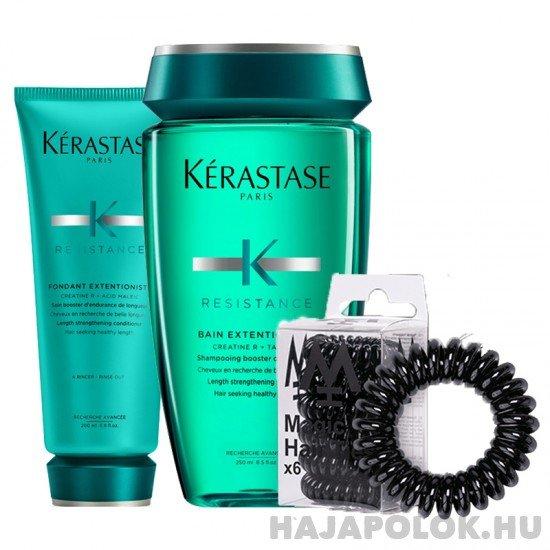 Kérastase Résistance Extentioniste sampon+kondícionáló és Magic Hair Ties fekete hajgumi csomag