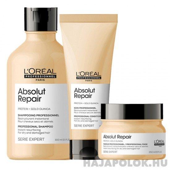 L'Oréal Professionnel Série Expert Absolut Repair Protein + Gold Quinoa három darabos csomag vastagszálú hajra