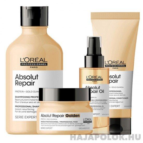 L'Oréal Professionnel Série Expert Absolut Repair Protein + Gold Quinoa négy darabos csomag normál és vékonyszálú hajra