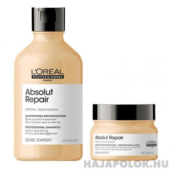 L'Oréal Professionnel Série Expert Absolut Repair Protein + Gold Quinoa sampon+hajmaszk csomag vastagszálú hajra