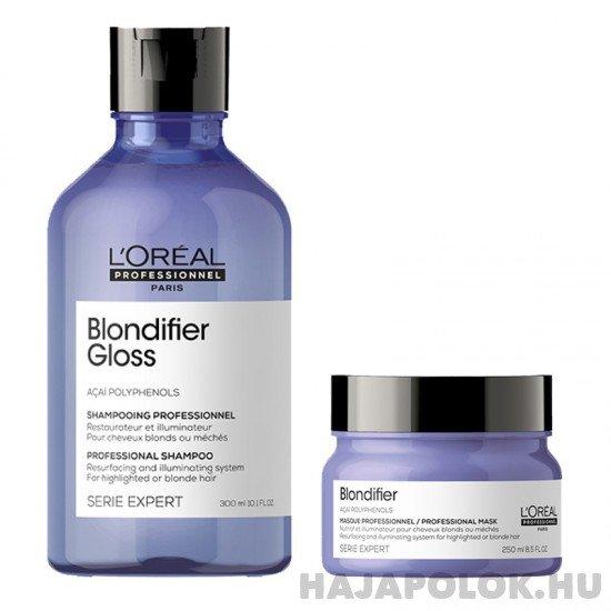 L'Oréal Professionnel Serie Expert Blondifier Gloss sampon+hajmaszk csomag hajmaszkkal szőke hajra
