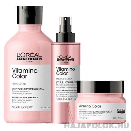 L'Oréal Professionnel Série Expert Vitamino Color Resveratrol három darabos csomag hajmaszkkal és spray-vel
