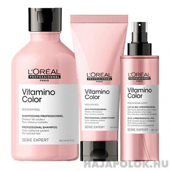 L'Oréal Professionnel Série Expert Vitamino Color Resveratrol három darabos csomag kondicionálóval és spray-vel